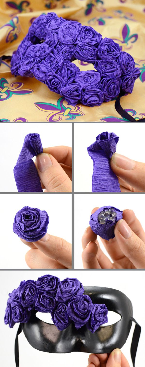 How to make your own mask with crepe paper flowers   Tutorials ...
