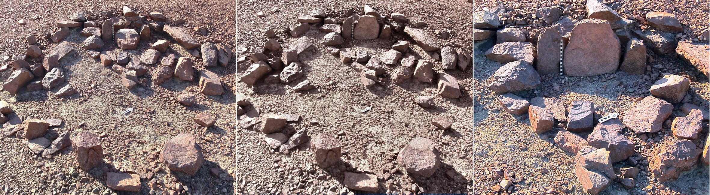 9000 year-old cultic sites in Southern Israel mountains near Eilat http://www.haaretz.com/life/archaeology/.A triad of masseboth in a circular cell, as found, and after re-setting the central one. Photo: Uzi Avner