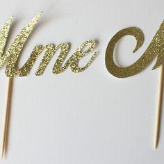 Décoration pour gâteau de mariés - mr et mme- or doré ...