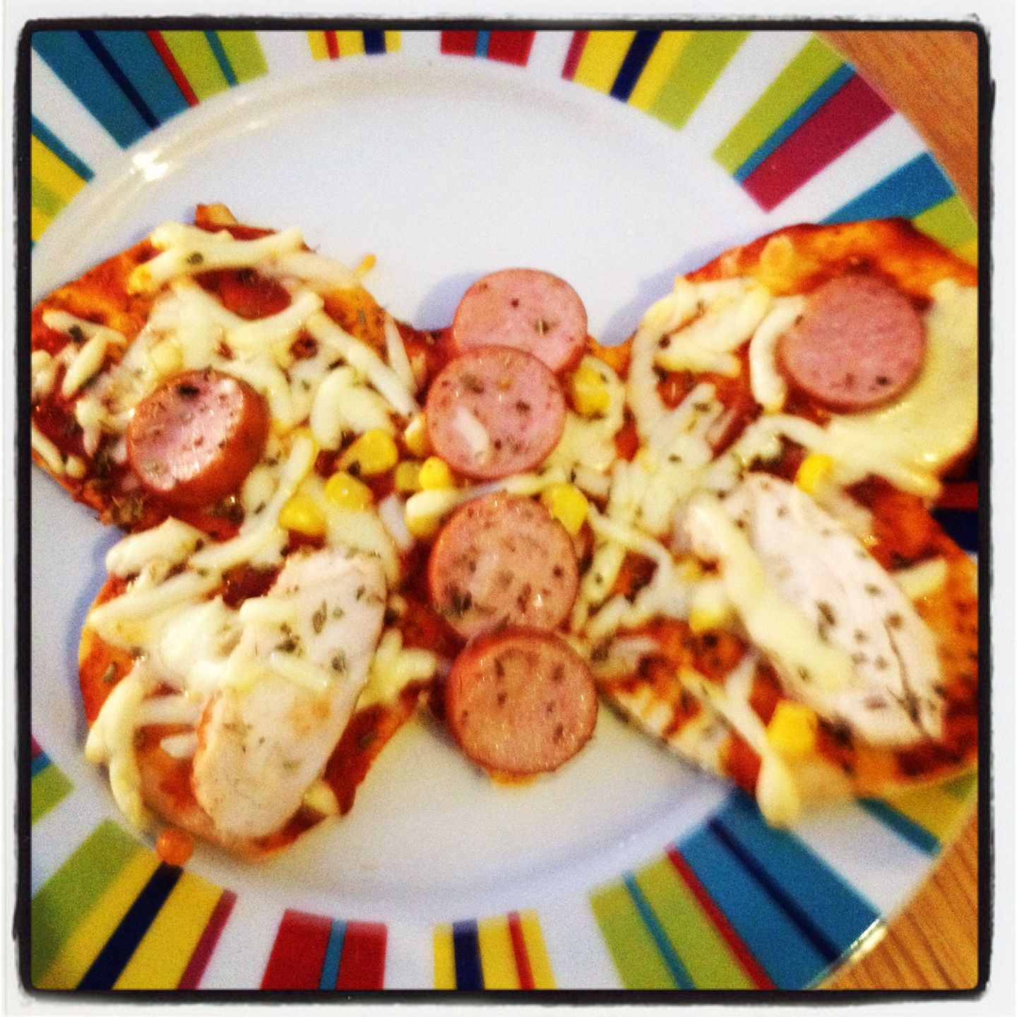Child-made pizza butterfly