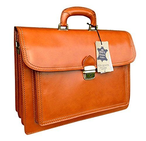 16 Hand Crafted In Italy Tan Briefcase Designer Leather Laptop Satchel Portfolio Messenger Bag