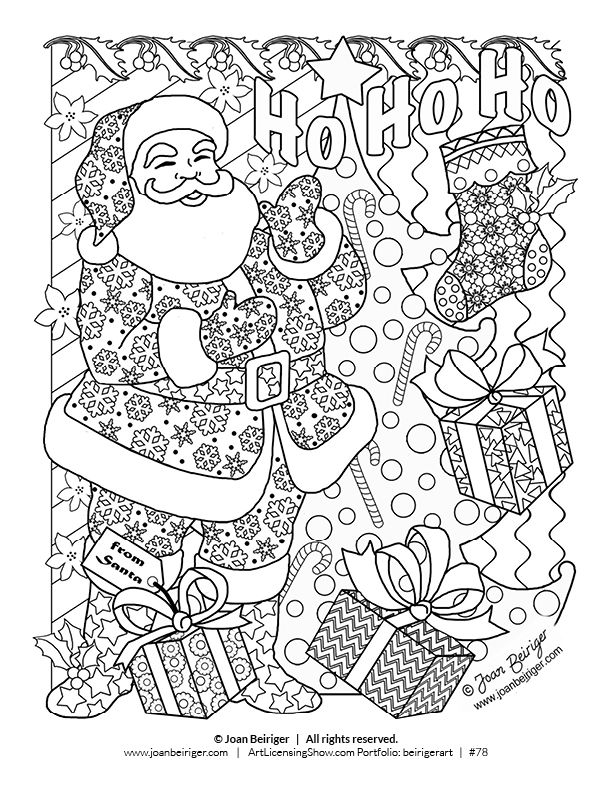 Free 92 Page Holiday Coloring Book | Coloring pages | Santa coloring ...