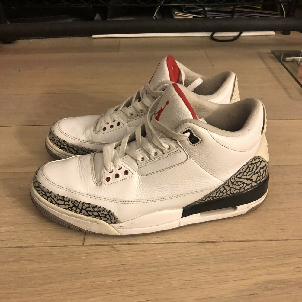 a3049be03a69 eBay Sponsored) Air Jordan 3 Retro (Size 10) Pre-owned- White Cement ...