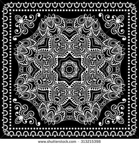 Black Bandana Print Silk Neck Scarf Or Kerchief Square Pattern