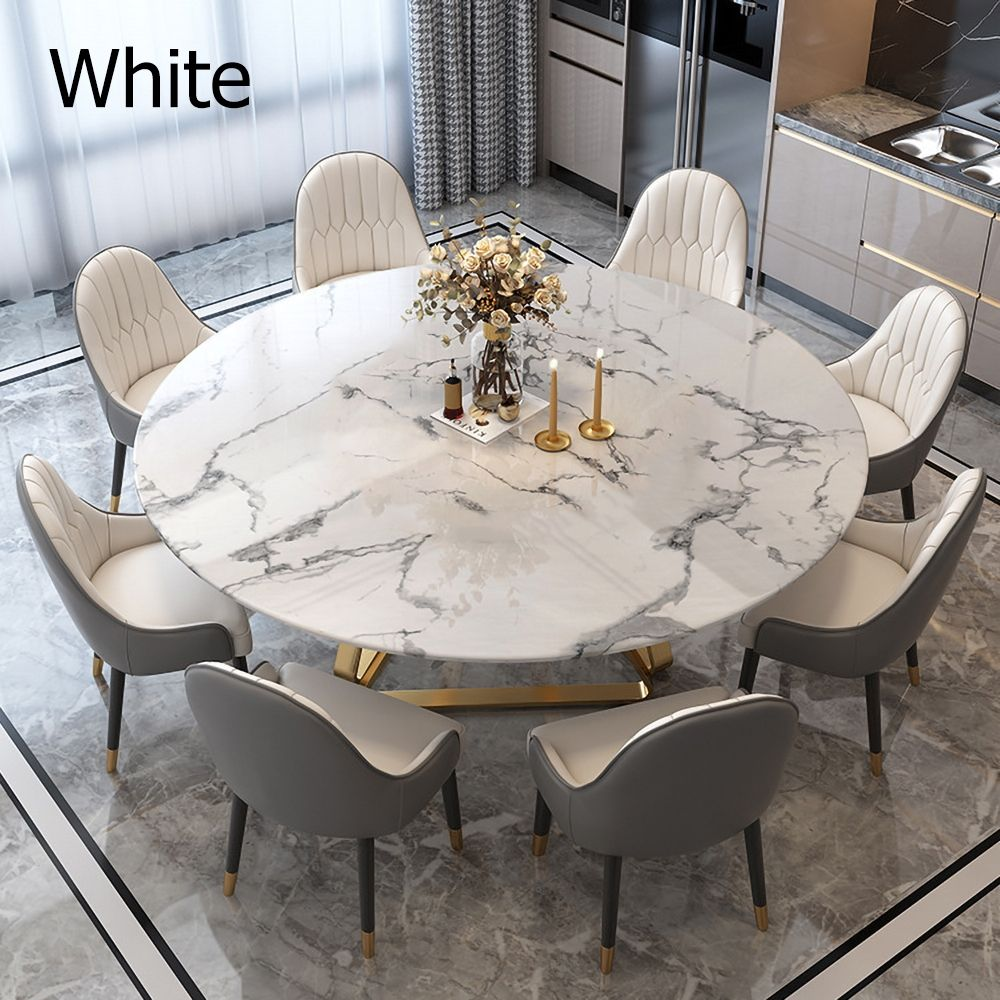 White Modern Round Marble Dining Table with Stainless Steel Base