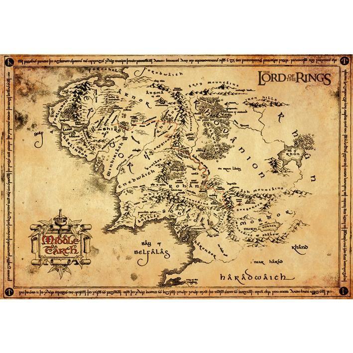 Middle Earth Map Karte Von Mittelerde Herr Der Ringe Karte Und