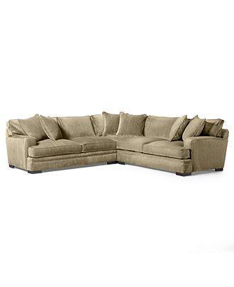 Teddy Fabric Sectional Sofa 3 Piece 115w X 115d X 30h