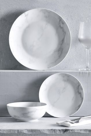 Buy 12 Piece Marble Dinner Set from the Next UK online shop & Buy 12 Piece Marble Dinner Set from the Next UK online shop ...
