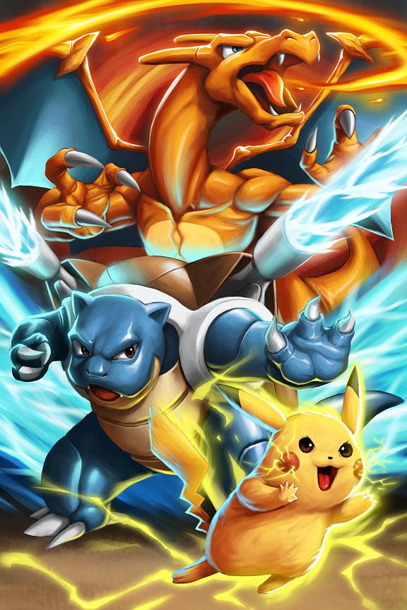 pokemon pikachu blastoise charizard by genghiskwan on deviantart