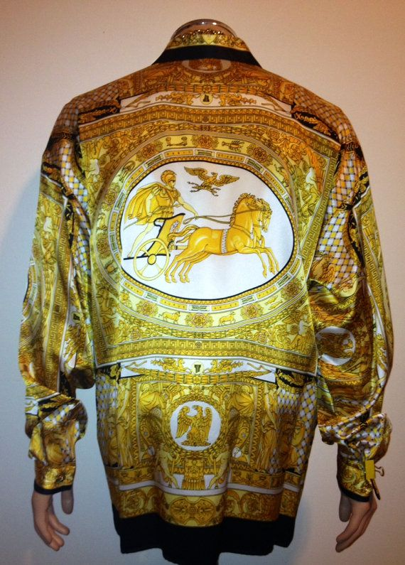 f574b0e4 Vintage 90s BAROQUE GOLD filigree Chariot print VERSACE style ...