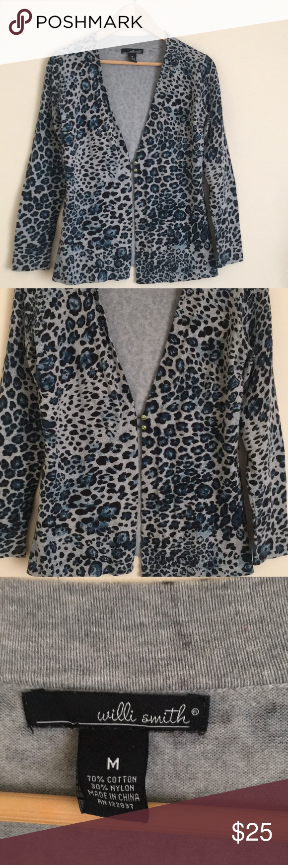 Willi Smith M blue leopard print cardigan sweater | Grey cardigan ...