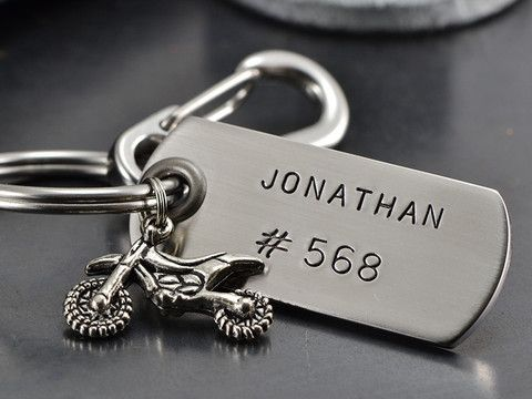 Personalized Dirt Bike Keychain Keychain Bike Jewelry Bike