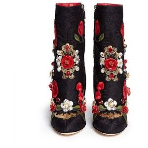 DOLCE GABBANA Leather rosette embroidery filigree brocade boots