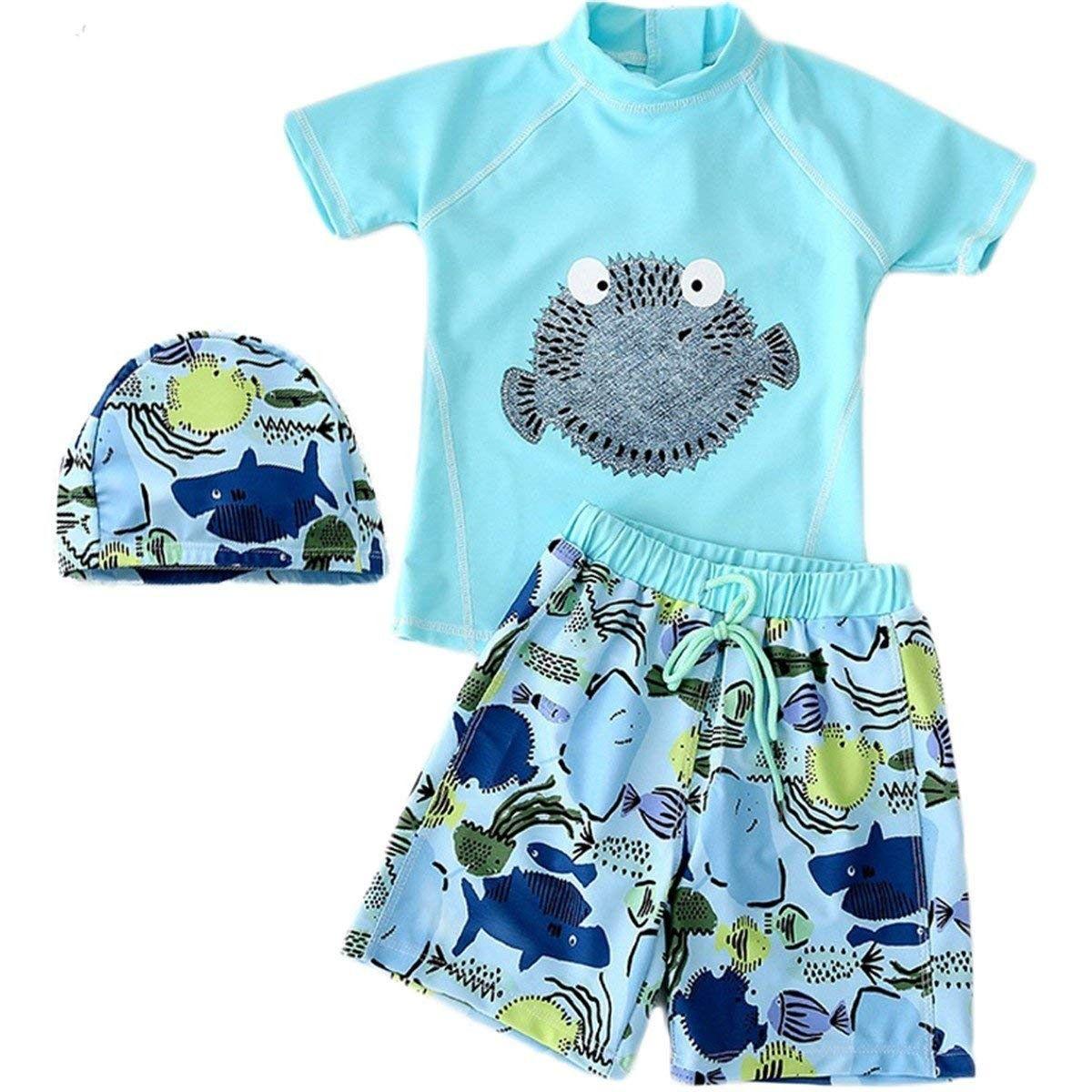 74f73e7215 Baby Kids Boys Two Pieces Short Sleeve Uv Rash Guard Swimwear Sun Protection  Cartoon Swimsuit with