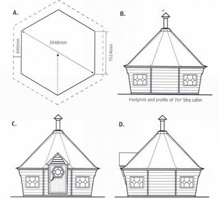 drawings of huts | plan drawings of the smallest of our bbq huts