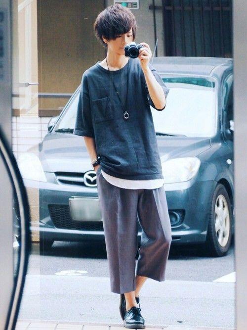 ゆるコーデ ワイドパンツの丈感も最高だしファッション最高だ 《サイズ》 Tシャツ
