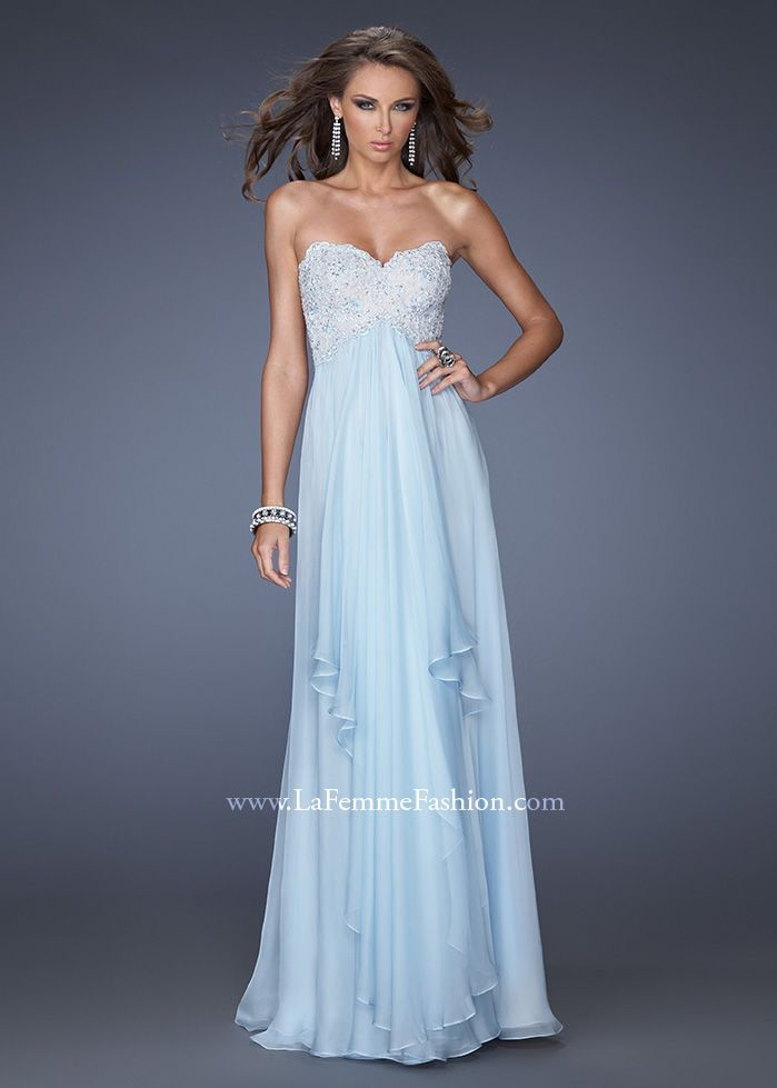 La Femme 20066 - Powder Blue Strapless Chiffon Prom Dresses Online