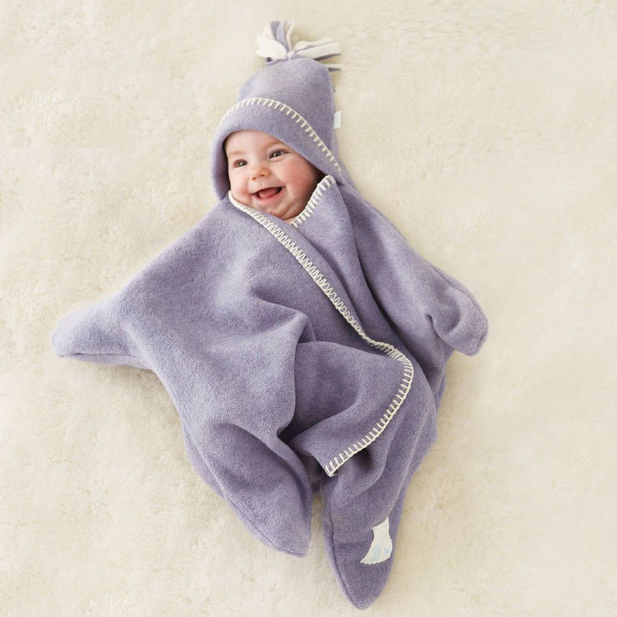 Tuppence and Crumble soft fleece hooded baby blanket wrap Heather