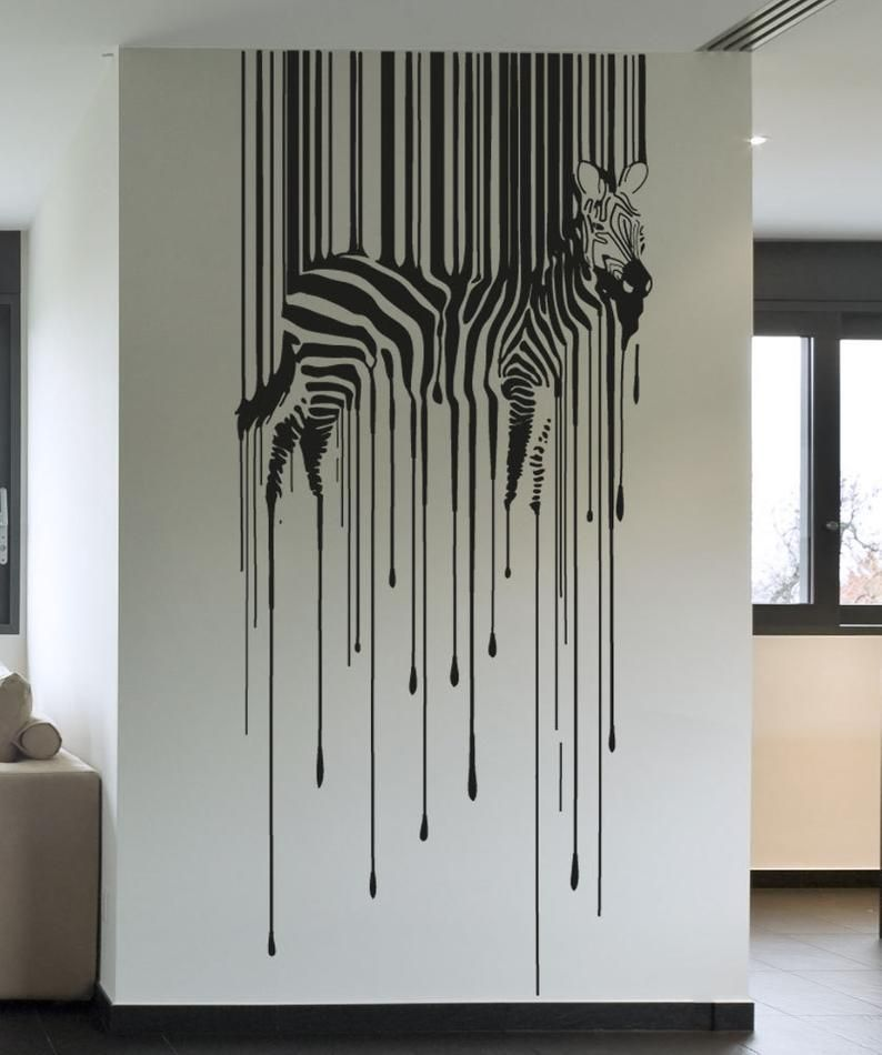 Drippy Zebra Vinyl Wall Decal Sticker. Office Wall