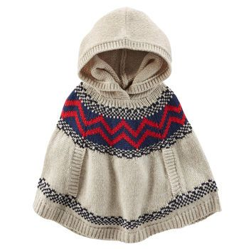 Hooded Fair Isle Poncho | Toddlers, Toddler girls and Love