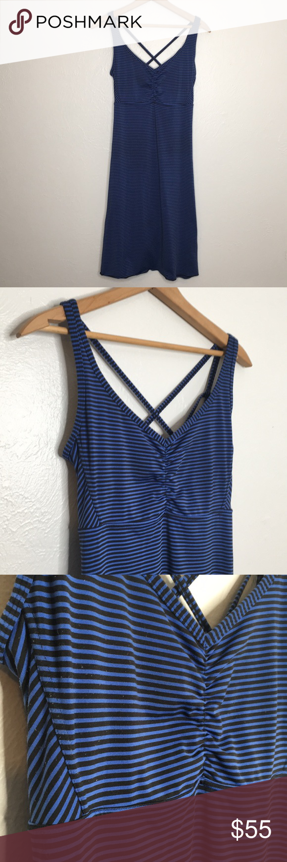 Prana Blue Black Stripe Dress With Built In Bra M Black Striped Dress Striped Dress Active Wear Dresses [ 1740 x 580 Pixel ]