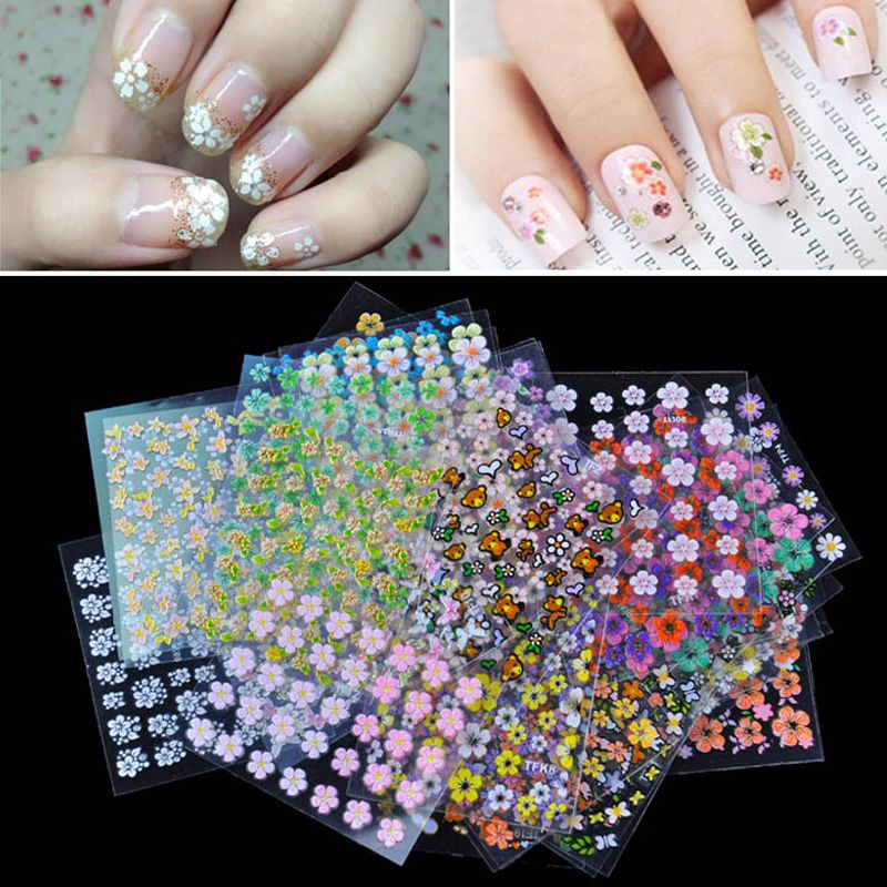 $3.08 (Buy here: http://appdeal.ru/8bq5 ) Top Nail 30/50 Sheet Beauty Floral Design Patterns Nail Stickers Mixed Decals Transfer Manicure Tips 3D Nail Art Decorations for just $3.08
