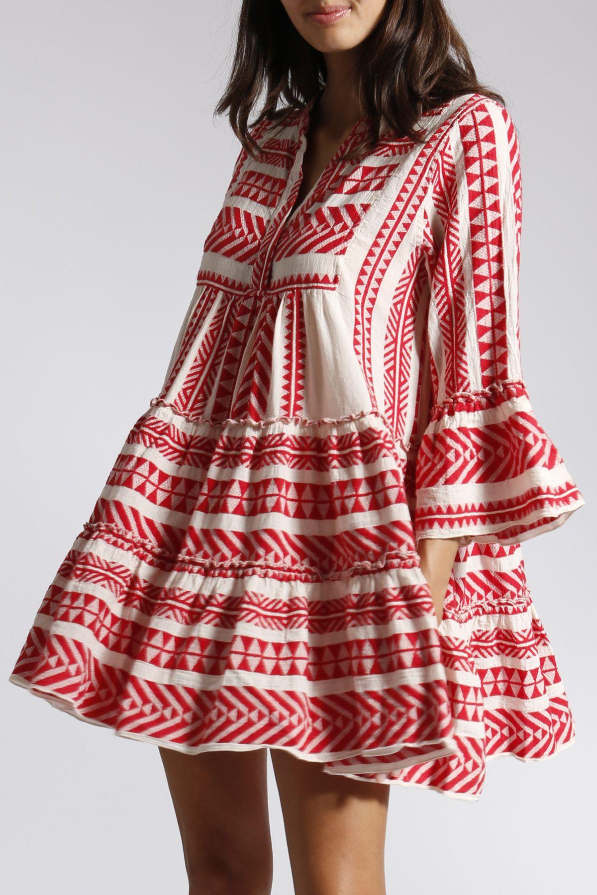 Gemustertes Tunikakleid Aus Baumwolle Rot Weiss In 2020 Tunika Kleid Langarmliges Kleid Kleider
