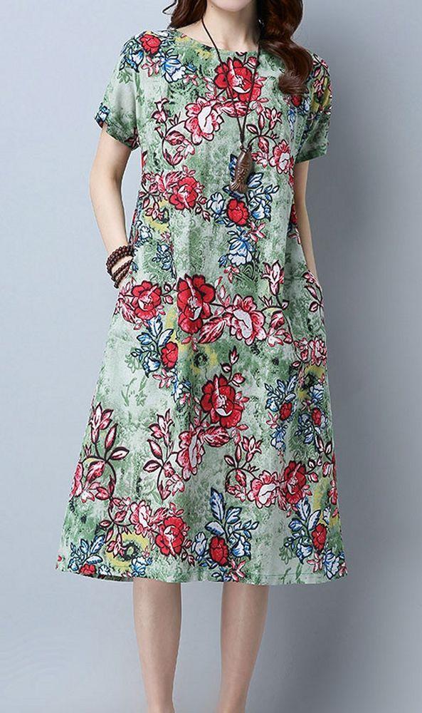 Women Loose Fit Over Plus Size Bohemian Retro Flower Dress Linen