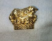 Cat on Basket box Gold Tone Brooch / Pin