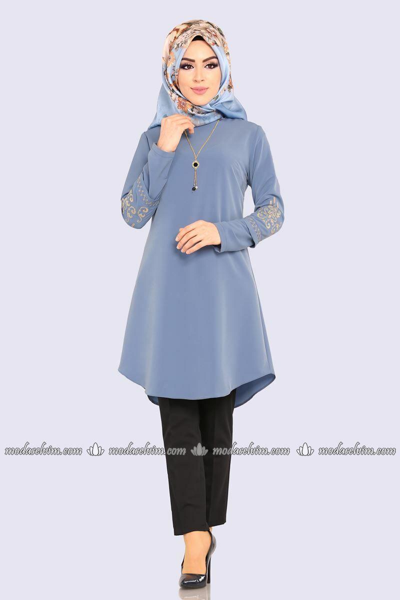 Moda Selvim Kollari Nakisli Tesettur Tunik Pl822 Mavi Moda Elbise Tunik