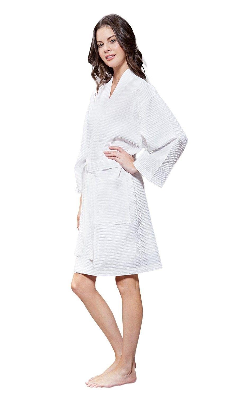 985bc1544c Lightweight Cotton Blend Women Waffle Kimono Spa Robe - White ...