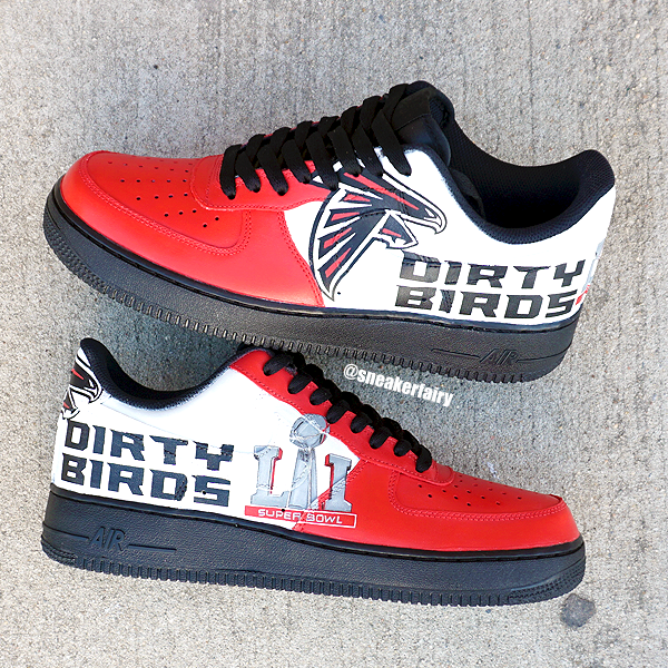 sneaker fairy fetti dbiasi custom sneakers atlanta falcons super bowl li 51 patriots  new england champions dirty birds rise up nike air force one shoes made ...