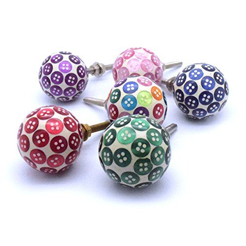 Set of 6 colourful button Resin Cupboard Door Knobs childrens ...