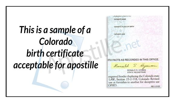 this is a sample of a Colorado birth certificate acceptable for - copy translate mexican birth certificate