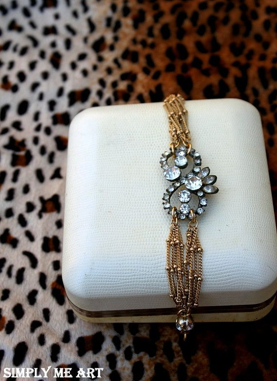 Reserved for Rochelle Vintage Rhinestone and Brass One of a