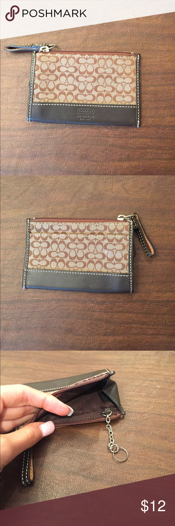 Coach Coin Purse Length is just under 3 inches and width is about 4.5 inches. Good used condition with minimal signs of wear. I think it originally had a key ring and no longer does. Great with change or cards. Coach Bags Wallets