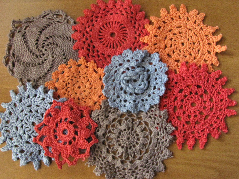 9 Blue, Red, Orange, and Slate colors Vintage Crochet Doilies. $6.50, via Etsy.