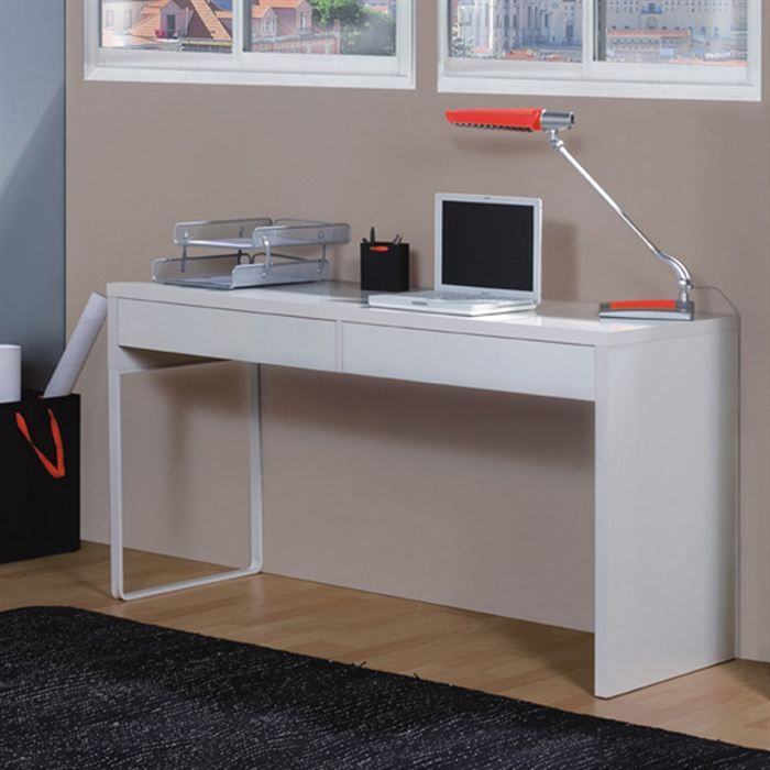 Touch bureau informatique contemporain blanc brillant l for Bureau 75 cm largeur