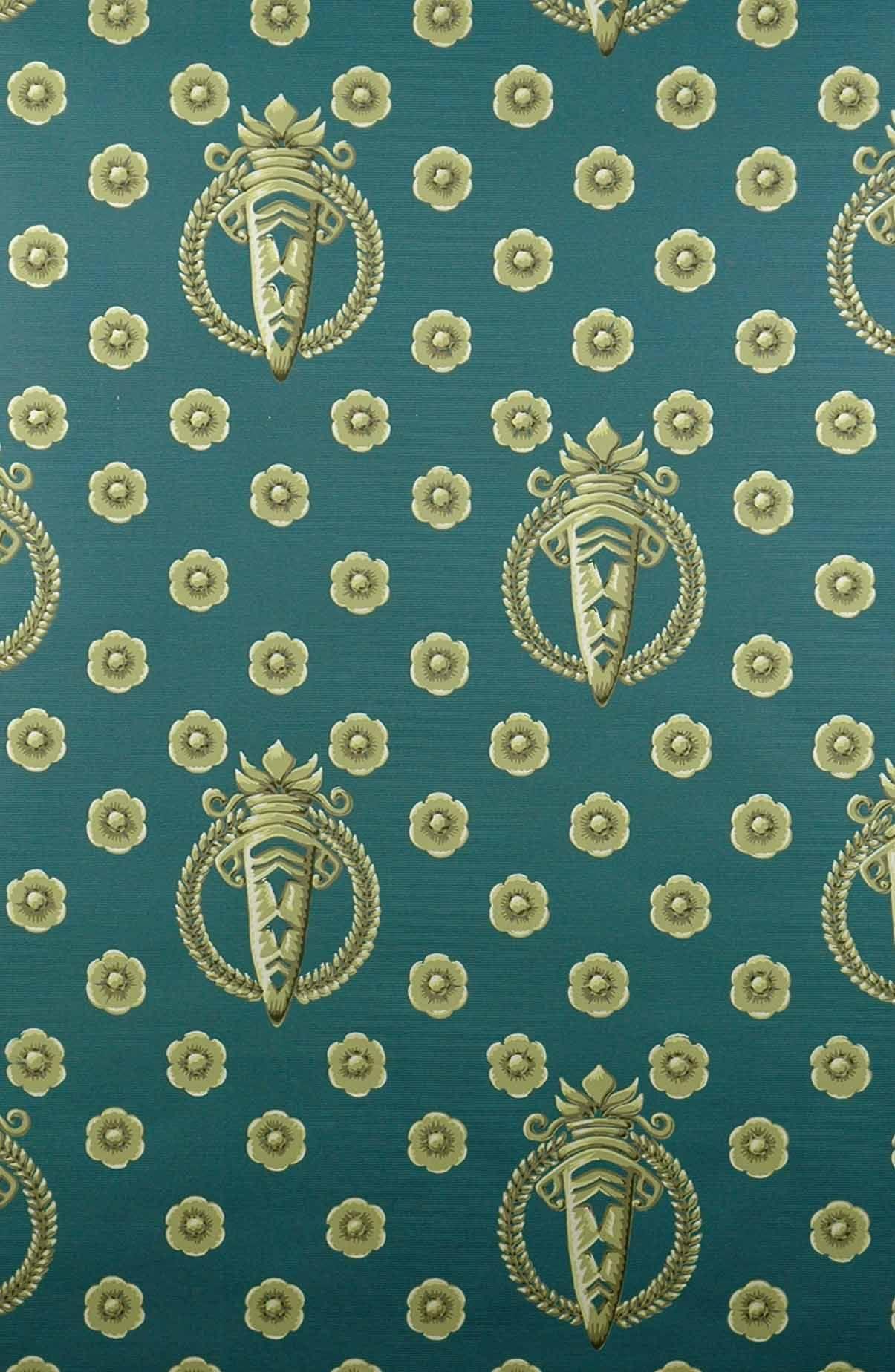 Tapetenreproduktion (wallpaper reproduction) Lorbeerkränze auf blauem Fond Original aus einem Palais bei München 1.Viertel 19.Jahrhundert