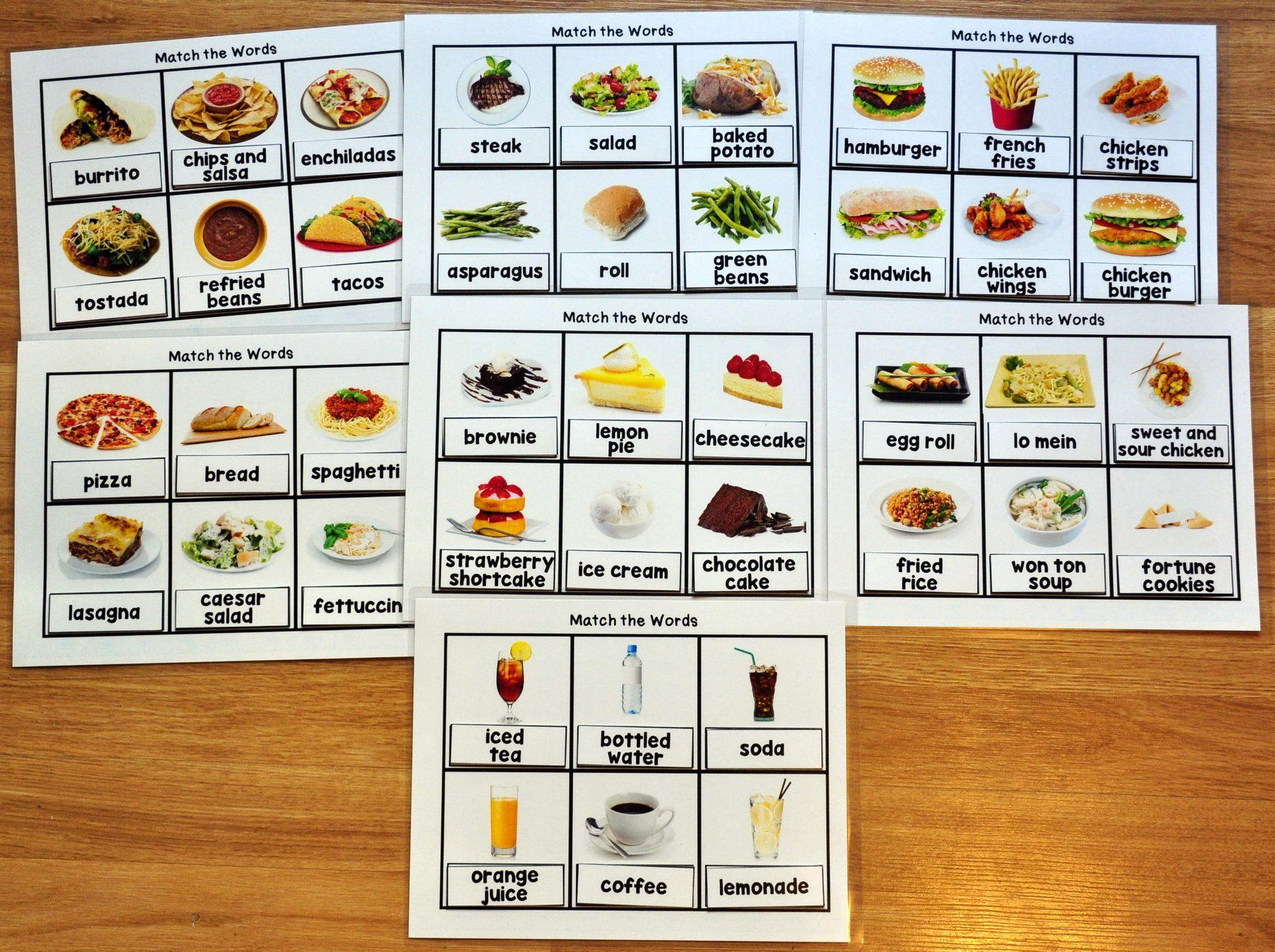 Functional Sight Words Matching Mats 2 Restaurant Words