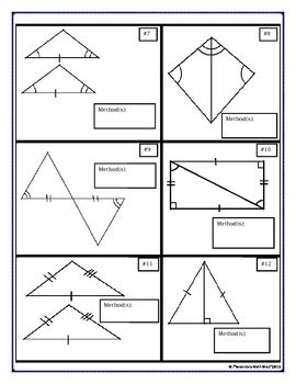 METHODS OF PROVING TRIANGLES CONGRUENT - VOCABULARY, CUT/MATCH ...