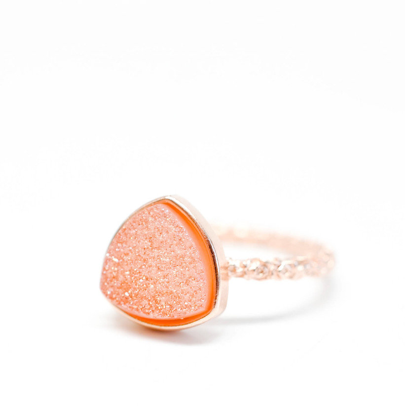 #leifshop.com             #ring                     #Drusy #Triangle #Ring #Melon #LEIF                 Drusy Triangle Ring in Melon | LEIF                                           http://www.seapai.com/product.aspx?PID=223775