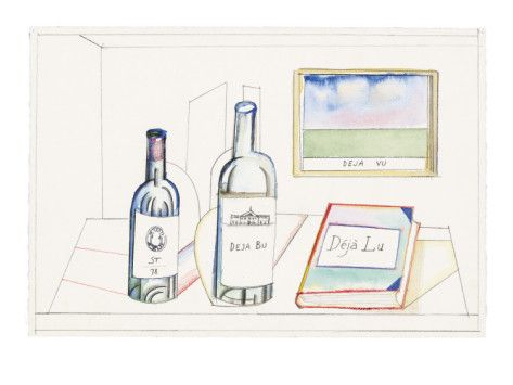 Bottles labeled, ST 78, Deja Bu, and book labeled Deja Lu, on desk with pi… - New Yorker Cartoon Poster Print  by Saul Steinberg at the Cond...