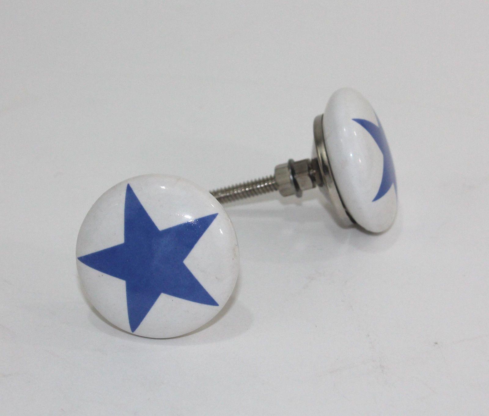 Mobelknopf Stern Blau Kommode Schrank Knauf Vintage