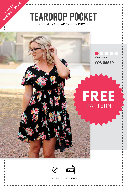 Free Universal Teardrop Dress Pocket Pattern - The DIBY Club -   14 dress DIY free printable ideas