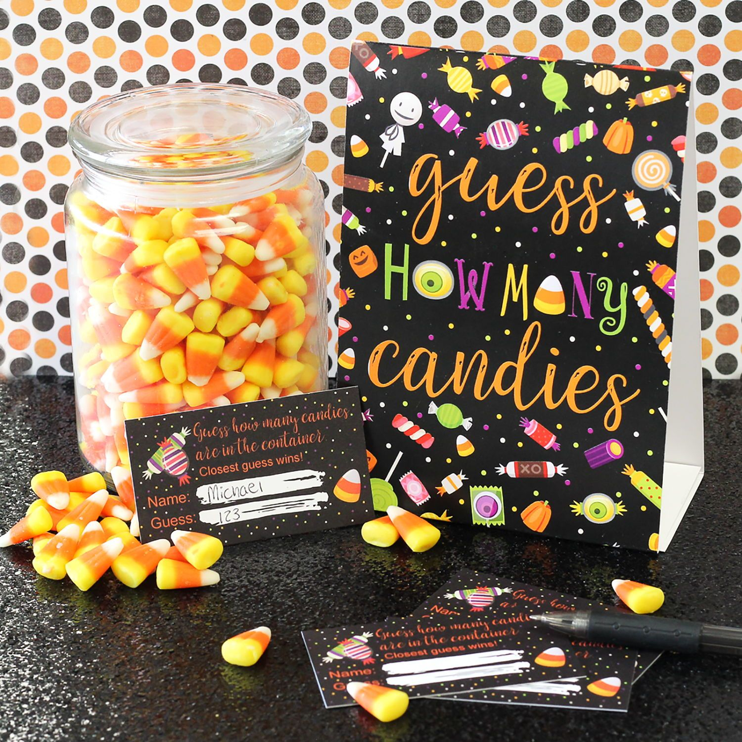 Guess How Many Candies Are In The Jar Game Halloween Candy Themed With Standing Sign And Gues Graduation Party Games Halloween Party Games Dinner Party Games