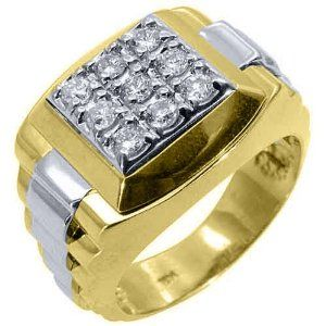 Perfect Mens Rolex Ring Two Tone Gold Square Diamond Ring Carats
