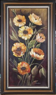 LARGE FRAMED OIL ON CANVAS OF YELLOW AND ORANGE POPPY FLOWERS BY ARTIST CHRIS PARKS.