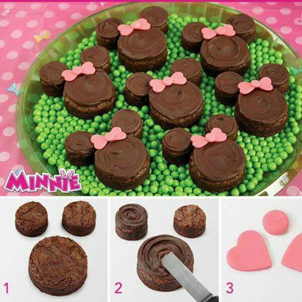Mini mouse brownie bites