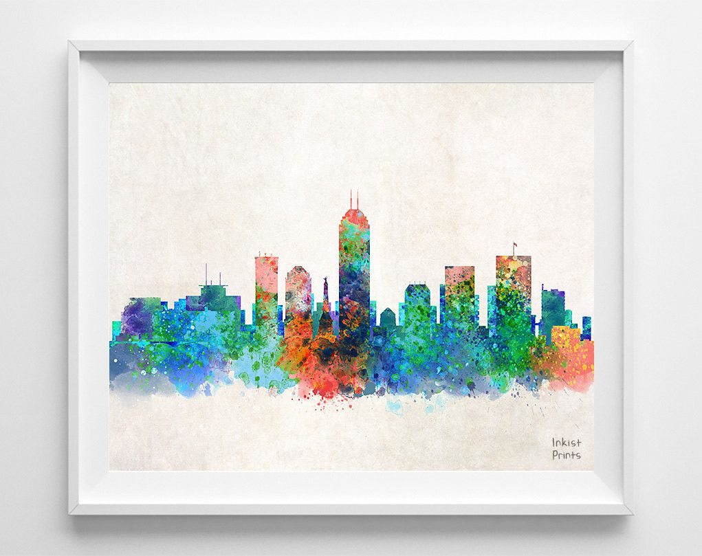 Color art printing anchorage - Indianapolis Skyline Watercolor Print